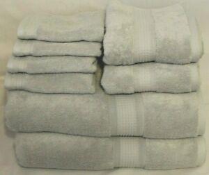DKNY Eight Piece Solid Light Soft Gray Bathroom Towel Set 100% Cotton New