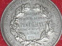 [Coll.J.DOMARD SPORT] RARE MEDAILLE ARGENT ESCRIME  EPEE 1897 Ministère MARINE