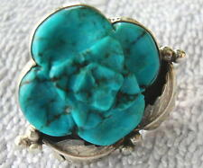 Vintage Ladies Sterling Silver & Turquoise  Flower Ring 12 grams Size 8