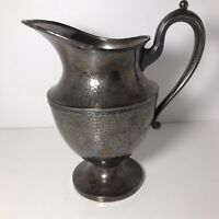 "Vintage Continental Silver NYC Triple Plate Pitcher 10"" Hammered w/Handle 1940's"