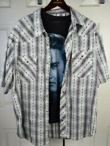 Vintage Levi's Liquid Shadow Plaid Western Snap Shirt XL Kurt Cobain Grunge