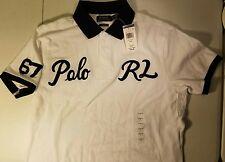 Mens Ralph Lauren Custom Fit Varsity 67 Polo RL Script Patch White Rugby Shirt L