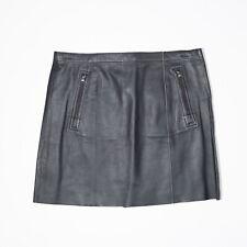 VINCE Women's Black White Bicolor Lambskin Leather Zipper Detail Mini Skirt 4