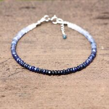 Natural Ombre Sapphire Beaded Bracelet Solid 14k White Gold 5th 45th Anniversary
