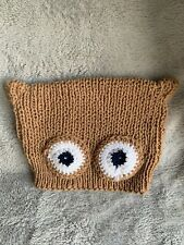 Owl Wool Hat Tan Brown with Owl Face & Eyes