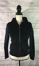 Armani Exchange Womens Sz S/P Black Jacket Full Zip Hooded Faux Fur Front Pocket