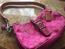 Authentic COACH Pink Leather Buckle front XS Hobo Satchel Shoulder Bag Purse