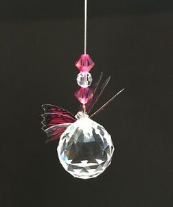 Hanging Crystal with 30 mm Lead Crystal Ball & Butterfly