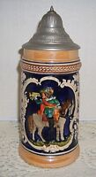 """VTG German Stein Pewter Lid Relief Courting Scene Man on Horse & 2 Ladies 9""""tall"""