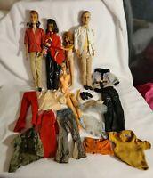 Vintage Lot Barbie Lot 60's Barbie, Ken, Midge?  60's Clothes For Repair Read