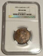 GREAT BRITAIN / 1895 1/2 Half Penny - NGC MS 64 BN !!