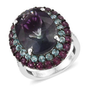 Fluorite Bi-color and Multi Gemstone Ring in Sterling Silver (Size 9)13.9 ctw