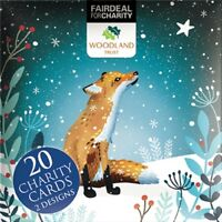 Box of 20 Fox & Hedgehog Woodland Trust Fairdeal Charity Christmas Cards