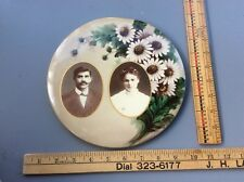 Antique Victorian Mourning Button , Americana, Portrait , Floral Design