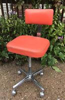 VTG Adjusto Equip Co Industrial SHOP STOOL metal drafting chair ORANGE VINYL '71