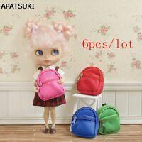 """6pcs/lot Fashion 1:6 Dolls Bag Backpack For Blythe Doll Knapsack For 11.5"""" Doll"""