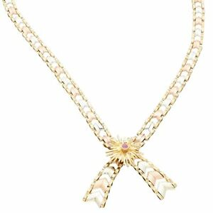 """9Carat Yellow, Rose & White Gold 15.5"""" Ruby Chevron Fancy Necklace (7mm Wide)"""