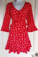 Womens Boohoo Dress size 8 red fit&flare ruffle casual party flower sexy vgc