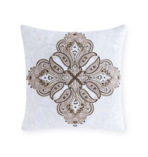 """Sferra TOFFIA Embroidered Beaded Decorative Pillow 20 x 20""""  IVORY Linen  - NEW!"""