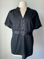Lane Bryant Women's Size 18 /20 Black Cotton/Satin Top    B6/5