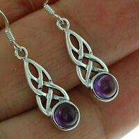 Celtic Knot Sterling Silver Earrings, w Amethyst Stone, Solid Sterling Silver.