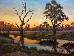 Original landscape oil painting Pilliga wetlands