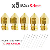 LOT x5 Nozzle MK8 0.4mm Brass M6 Filament 1.75mm printer 3D + Tools Cleaning