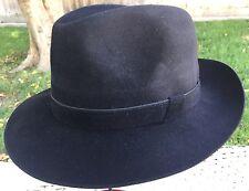 GUERRA MEN'S ITALIAN BLACK 100% CASHMERE FELT TRILBY FEDORA HAT M/L 58cm 7 1/4