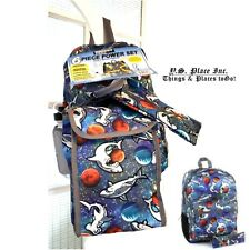 Kids Boys 6 Piece Backpack Lunch Bag School Bag Blue Space Shark New