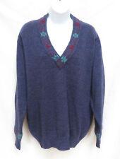Vtg GUCCI Italy Mens Blue Wool Alpaca V Neck Sweater 48