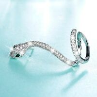 18k white gold gf crystal snake green eyes single earring ear cuff climber