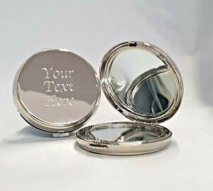 Engraved Silver Round Luxury Compact Mirror Wedding Birthday Bridesmaid Gift her