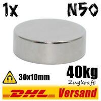 Power Neodym Magnet 30x10 mm D30x10mm 40kg Zugkraft N50 super Magnete stark