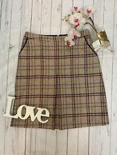 Laura Ashley size 12 purple brown wool a line British cloth skirt VGC pockets