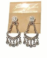 KENNETH JAY LANE CHANDELIER SILVER & CRYSTAL FIVE DROP EARRINGS SALE!
