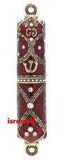JEWISH MEZUZAH CASE - Hand Enameled - Metal - Crystals - Door Mezzuzah - Gift