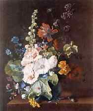 Huysum Jan Van Holycocks And Other Flowers In A Vase A3 Box Canvas