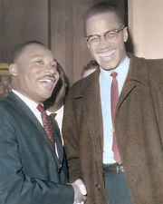 "MARTIN LUTHER KING Jr MALCOLM X AFRICAN AMERICANS 8x10"" HAND COLOR TINTED PHOTO"