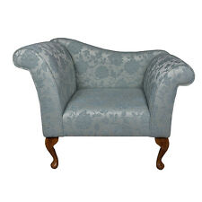 """37"""" Small Chaise Longue Lounge Seat Armchair Arm Chair Blue Fabric Queen Anne UK"""