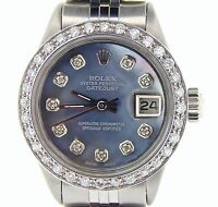 Rolex Datejust Lady Stainless Steel Watch Black Tahitian MOP Diamond Dial Bezel