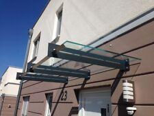 Edelstahl Glas Vordach San Diego RAL 7016 mit integrierte Regenrinne VSG-TVG