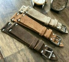 Italian Vintage Genuine Suede Leather watch strap H/Made 18 19 20 22mm Blue Tan