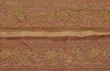 Vintage Sari Border Antique Hand Beaded 1 YD Indian Trim Sewing Saffron Lace