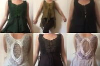 Lace cut out waistcoat corset top hippy boho pixie fairtrade
