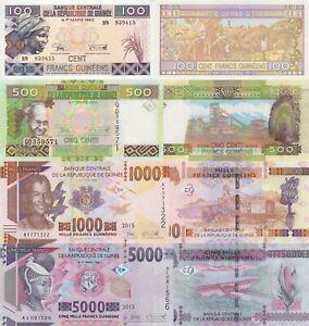 Guinea 4 Note Set: 100, 500, 1000 & 5000 Francs (2015) p-A47, p-47,p-48,p-49 UNC
