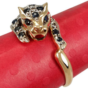 NICE 18K GOLD UNISEX RING WITH DIAMONDS & SAPPHIRES IN SHAPE OF A PANTHER