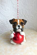 Boxer Christmas Ornament Sculpted Dog Collectible gift Furever Clay