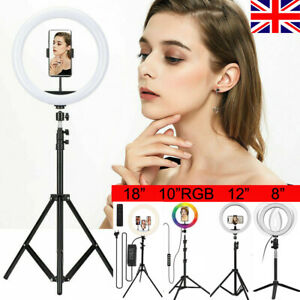 "8"" 10"" 12"" LED Ring Light Lamp With Stand Tripod Phone Holder Live Selfie Kit"