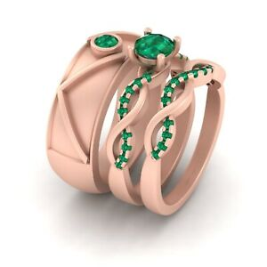 Green Emerald Entwined Engagement Ring Matching Wedding Band Set 3Pc Couple set