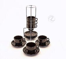 Espresso Coffee Cups Demitasse Set Six Holder W Saucer Dark Brown World Market